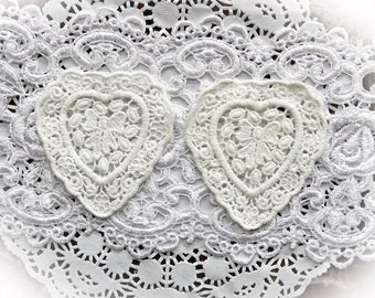 Reneabouquets Trim- Embroidered Heart  Lace Appliques Set Of 2