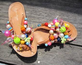 "Leather greek sandals/ flip flps / handcrafted  sandals / authentic / embellished leather sandals / handmade stylish sandals ""Toys"""