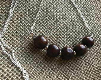 """18"""" Wood Bead Necklace on Silver"""