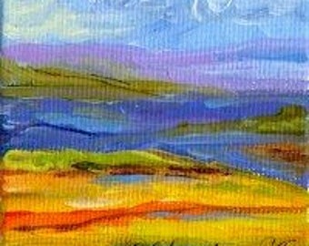 Abstract Landscape Original Miniature Acrylic Painting