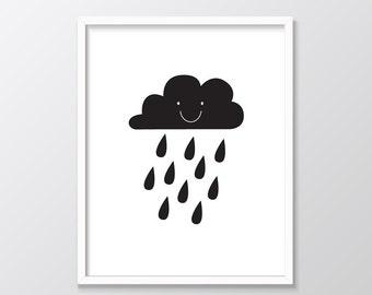 Nursery Wall Art, Rain Cloud Print, Monochrome Nursery Prints, Happy Rain Cloud Printable Art, Black and White, Printable Nursery Art, Cloud