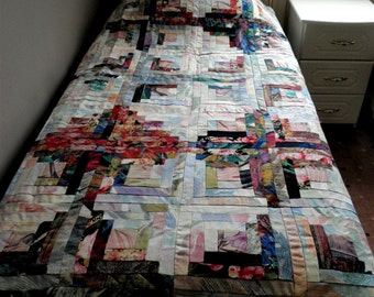 2 Single Patchwork Quilts, Twin Quilts, Autumn Tones in Quilts, Log Cabin Quilts, Curtain fabric Quilts