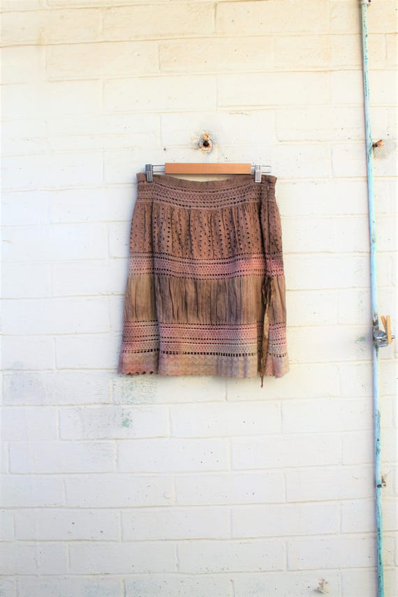 Mori Girl Skirt/Rustic Farmhouse Skirt/Earth Skirt/Mother Earth Skirt/Upcycled Clothing/Tea Dye Clothing/Ecru Skirt/Music Festival Clothing