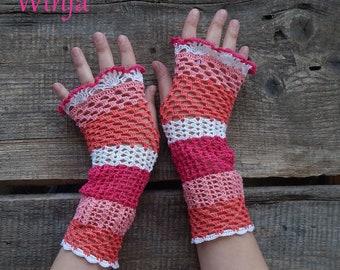 Crochet fingerless gloves, cotton gloves, knitted fingerles gloves, wedding gloves, boho mittens, lace gloves, pink gloves, crochet mittens