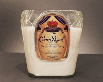 Recycled Crown Royal Bottle Candle