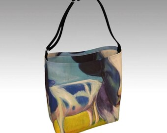 """Colorful Blue Unique Neoprene Day Tote from PastelArt """"My Mother was a Cow"""", Washable"""