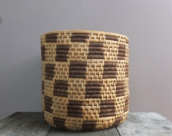 Vintage Coil Basket / Large Basket / Storage Basket