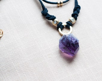 Raw Amethyst Necklace, Unique Necklace, Amethyst Jewelry Crystal Choker Necklace, Inspirational Gift for Women, Raw Stone Necklace Boho Chic