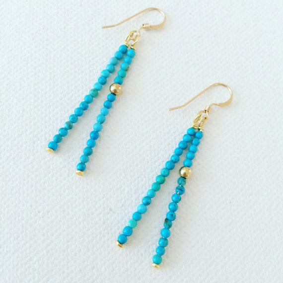 Baby Turquoise Stones & Gold Tassel Earrings