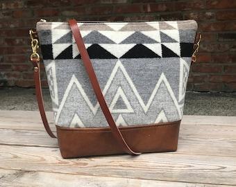 Portland Wool and Brown Leather  Cross body, Crossbody Purse, Crossbody Bag, Leather Crossbody, Messenger Bag,  Wool Bag