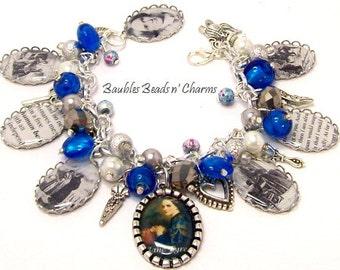 Jane Eyre Charm Bracelet, Charlotte Bronte, Book Novel Bracelet Jewelry, Literary Charm Bracelet Jewelry, Literary Necklace, Book Necklace