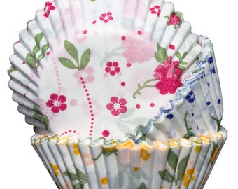 Floral Yellow, Blue and Pink Cupcake Cases x60 Baking Muffin