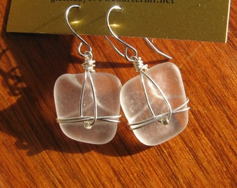Fresh Frosty White Lake Superior Beach Glass Earrings