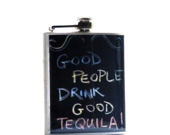 FLASK- Hip Flask - Tequila Flask, NYC Flask, 6oz Stainless Steel Flask, Groomsman Gift