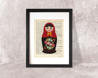 Matryoshka print-Russian doll print-Matryoshka on book page-Matryoshka dictionary print-Nursery print-children wall art-NATURA PICTA-DP043