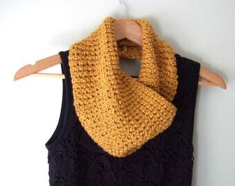 Mustard Infinity Scarf / Crochet Scarf / Organic Cotton Scarf / Mustard Yellow Scarf