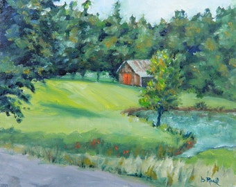 Little Red Barn - original oil painting