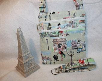 Parisian Shopping Girl Theme Fabric Crossbody Handbag w/adj strap