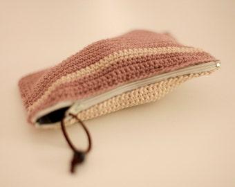 ClUch- CoTTon Off WhiTe-Light brown -stripes -Gift-Handmade-Modern -  zipper Valentine day gift