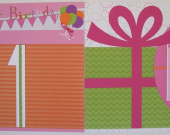 Happy 1st Birthday (Girl) 12 X 12 Premade Scrapbook Pages