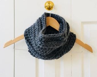 Gray Chunky Crochet Cowl