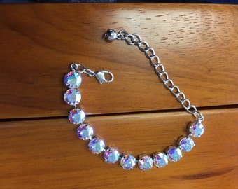 Aurora Borealis Swarovski Crystal Tennis Bracelet-custom color requests, Birthstones