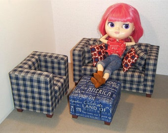 1/6 Scale Furniture Sofa Chair Ottoman - Barbie Momoko, Blythe, Pullip, Fashion Dolls - 1:6 Playscale Living Room Diorama - Patriotic