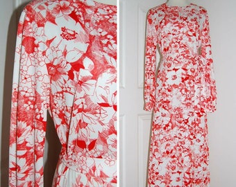 Vintage Maxi Dress, 70s Maxi Dress, Floral Dress, 1970s, Red and White, Polyester Dress,  Long Sleeve Dress, Vintage Party Dress, Size Med