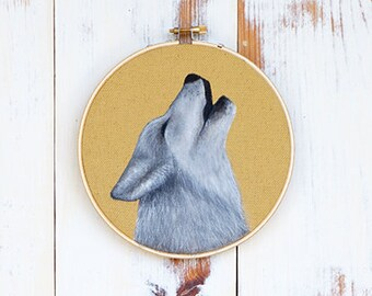 Gray wolf painting on 6.5 inch embroidery hoop