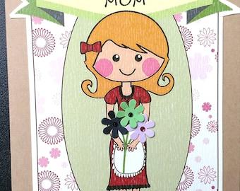 Mother's Birthday, Mom's Birthday, Flowers Birthday, Retro Mother's Birthday, Retro Flowers, Mom in Apron, Grateful for Mom Birthday