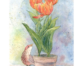 "Original Art Print -""Brown Bird with Orange Tulips""- Watercolor - Wall Decor - Wall Art - Spring Flowers - Housewarming Gift"