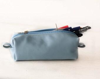 Light blue leather pencils case, rectangular accessory bag purse case glasses markers zipper pouch - The Rec pencil case