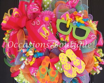Summer Wreath, Flip Flop Wreath, Spring Wreaths, Door Hanger, Whimsical Wreath, Front door wreaths, Made to Order