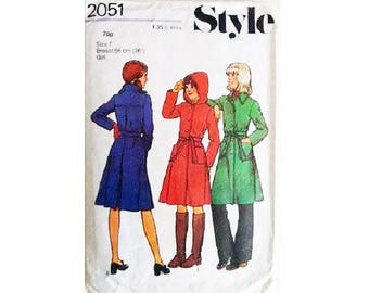 """Style 2051 Girls Teen Junior Winter Wool A Line Belted Coat Jacket with Hood Option Sewing Pattern Size 7 Bust 26"""""""