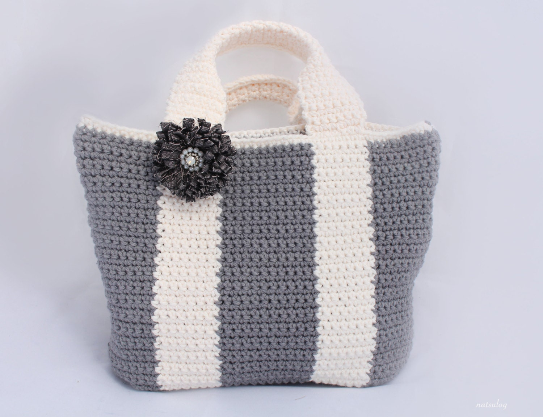 Crochet simple tote bag pattern, Bicolor bag Crochet purse pattern ...
