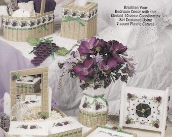 Grape Arbor, The Needlecraft Shop Plastic Canvas Pattern Booklet 983065 Clock Vase & More NEW