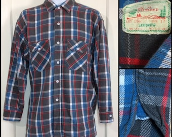 1960s 5 Brother faded flannel work shirt size 17 XL Sanforized gussets gray blue red white plaid worn soft grunge