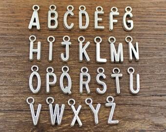 26pcs Alphabet Letter Charms Antique Silver Tone - SH61