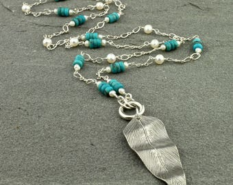 """Turquoise, Freshwater Pearls, Artisan Fine Silver Feather Pendant Necklace, """"Siesta"""""""