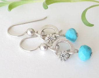 Handmade fine silver and sleeping beauty turquoise earrings, soldered silver, Argentium silver earwires, turquoise blue, everyday earrings.