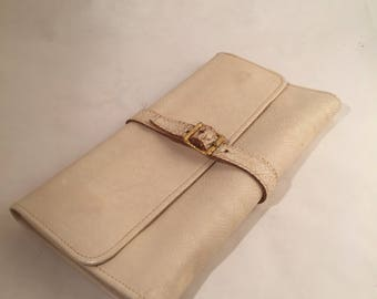 Leather Jewelry Roll Up Wallet - White with Red Interior