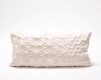 "Cream textured pillow cover 30x60 cm, 23.6X11.8"" ,Geometry inspired cushion, Modern home decor, Japanese inspired cushion cover, Amit pillow"