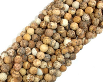 Matte Picture Jasper Beads Round, 6mm (6.5 mm), 15.5 Inch, Full strand, Approx 62 beads, Hole 1 mm A quality (345054009)
