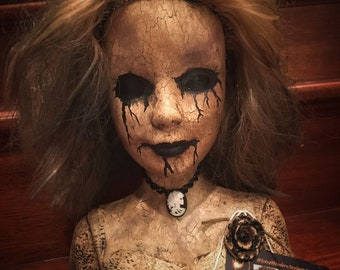 Barb Creepy Scary Horror OOAK doll bust