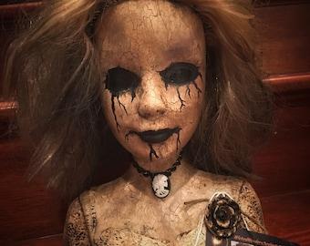 Barb Creepy Scary Horror OOAK doll bust