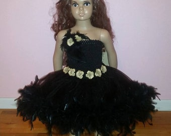 Pageant dress, feathered tutu, feather dress, pageant feather dress, ooc, feather outfit, birthday outfit, cake smash, cake smash outfit