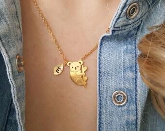 Delicate Petite Koala Necklace, Koala necklaces,initial leaf necklace,Layering necklace, Tiny Necklace ,Bridesmaid Gift, valued gift