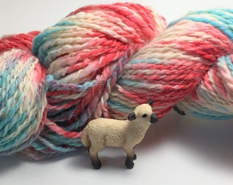 """Hand-Spun 100% Wool and Merino Yarn """"Summer Lovin"""" Hand-Washed, Carded, Spun and Painted, 2 ply, Knit, Crochet, Weave, Wound FREE, 198 yds"""