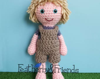 Pattern: Crochet Doll Little Brother Boy with Shorts Overalls