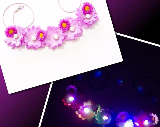Purple Daisy LED Flower Crown